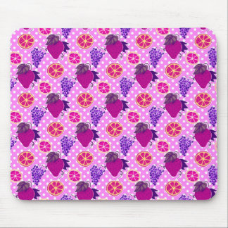 Polk-a-dots and Fruits - Pink Pattern Mouse Pad