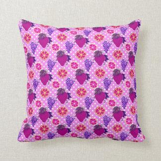 Polk-a-dots and Fruits - Pink Pattern Pillows