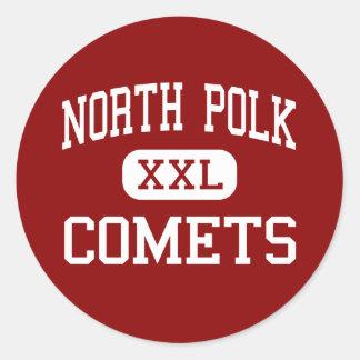 Polk del norte - cometas - High School secundaria Etiqueta Redonda