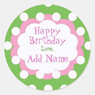 Polk rosado y verde un pegatina del cumpleaños del