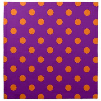 Polk-uno-puntos anaranjados púrpuras servilleta de papel