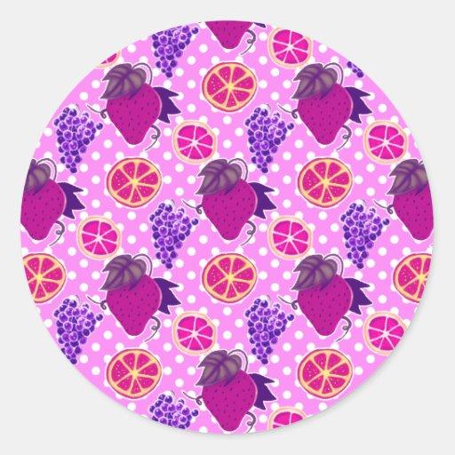 Polk-uno-puntos y frutas - modelo rosado pegatina redonda