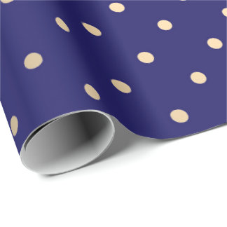 Polka Big Dots Blue Navy Foxier Gold Ivory Wrapping Paper