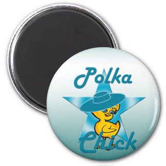 Polka Chick #7 2 Inch Round Magnet