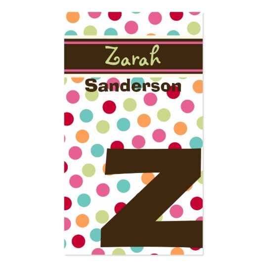 Polka Color Candy Dots Monogram Alphabet Fun Cute Business Card