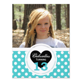Polka-dot 13th Birthday: Picture:Party Invitation
