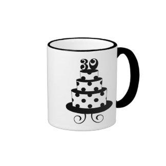 Polka Dot 30th Birthday Cake Ringer Coffee Mug