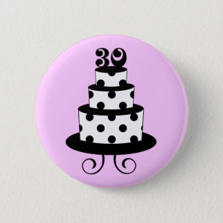 Polka Dot 30th Birthday Cake Pinback Button