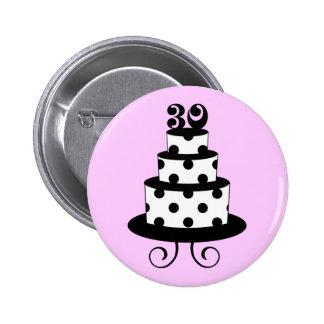Polka Dot 30th Birthday Cake Pinback Button
