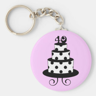 Polka Dot 40th Birthday Anniversary Cake Keychain