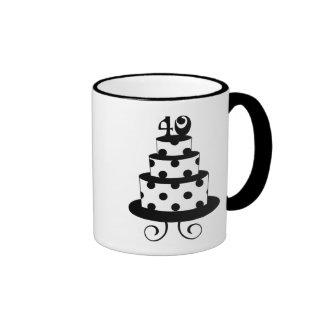 Polka Dot 40th Birthday Anniversary Cake Ringer Coffee Mug