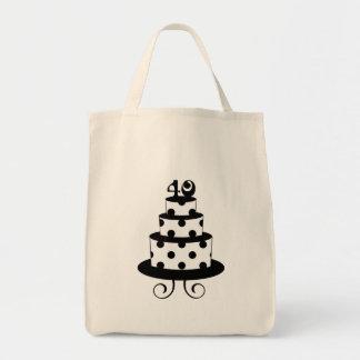 Polka Dot 40th Birthday Anniversary Cake Tote Bag