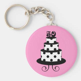 Polka Dot 50th Birthday Anniversary Keychain