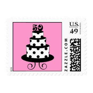 Polka Dot 50th Birthday Anniversary Postage Stamp