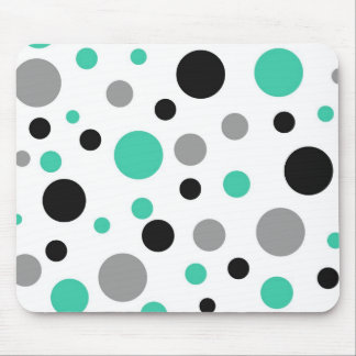 Polka Dot Abstract Art in Teal Mouse Pad
