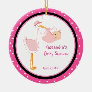 Polka Dot Adorable Stork Baby Girl Shower Ornament
