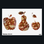 """Polka Dot Agate Pattern Fruit Shapes Wall Decal<br><div class=""""desc"""">Decorative fabric paper room decals in the shape of an apple, pear, and cherry, inspired by an image of the attractive patterns of orange Polka Dot Agate. An alternate embellishment to decorate a wall space, cabinet, or other flat surface. A great decor idea for kitchen areas! To see other products...</div>"""
