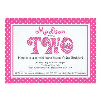 Polka Dot Alphabet 2nd Birthday Party Invitation