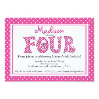 Polka Dot Alphabet 4th Birthday Party Invitation