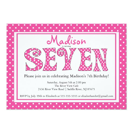 polka dot alphabet 7th birthday party invitation