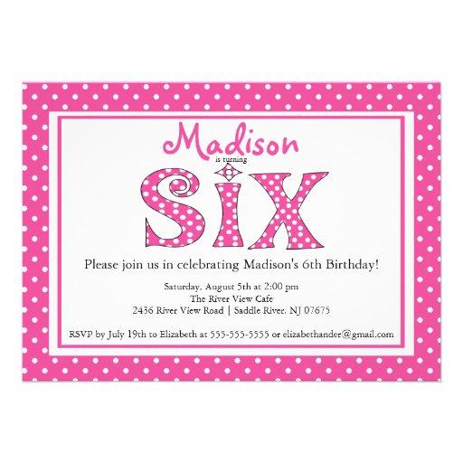 Polka Dot Alphabet Sixth Birthday Party Invitation 5 X 7