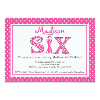 Polka Dot Alphabet Sixth Birthday Party Invitation