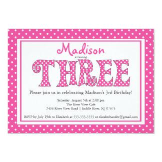Polka Dot Alphabet Third Birthday Party Invitation