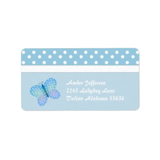 Polka Dot and Butterfly Address Labels label
