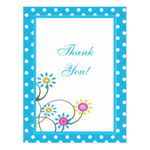 Polka Dot and Flowers Thank You Postcard