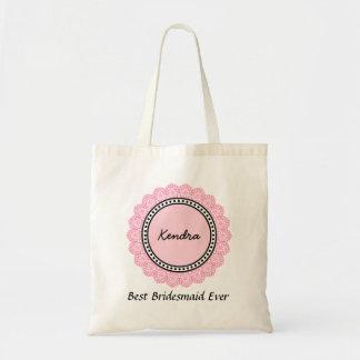 Polka Dot and Lace Custom Name Sentiment V14A PINK Tote Bag