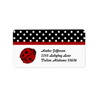 Polka Dot and Lady Bug Address Labels label