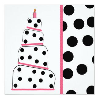Polka Dot And Pink Birthday Party Invitation