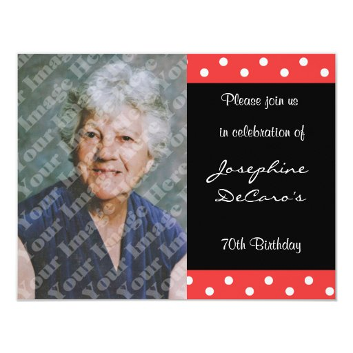 Polka Dot And Red Bubble 70th Birthday Celebration 4.25x5.5 Paper Invitation Card