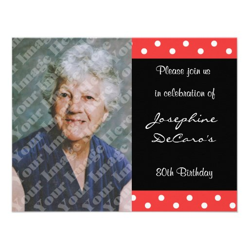 Polka Dot And Red Bubble 80th Birthday Celebration Personalized Announcement