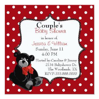 Polka Dot and Teddy Bear Couple's Baby Shower Invitation