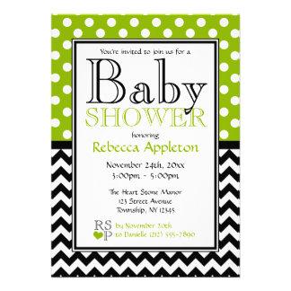 Polka Dot Apple Green Chevron Baby Shower Announcements