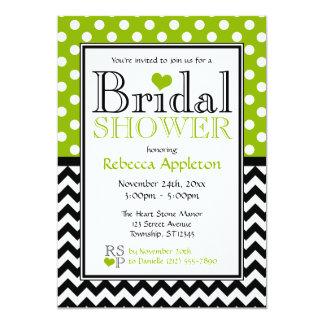 Polka Dot Apple Green & Chevron Bridal Shower Card
