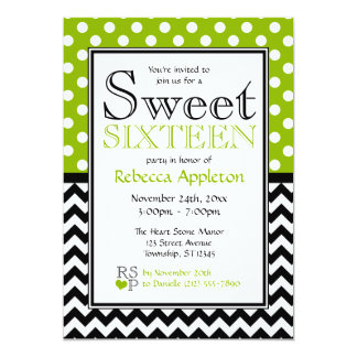 Polka Dot Apple Green Chevron Sweet Sixteen 5x7 Paper Invitation Card