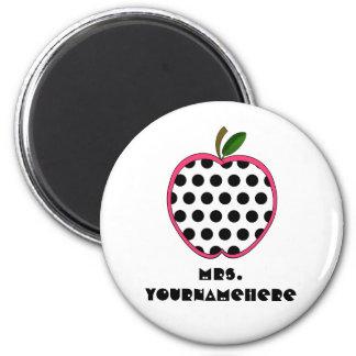 Polka Dot Apple Teacher 2 Inch Round Magnet