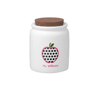 Polka Dot Apple Teacher Candy Jar