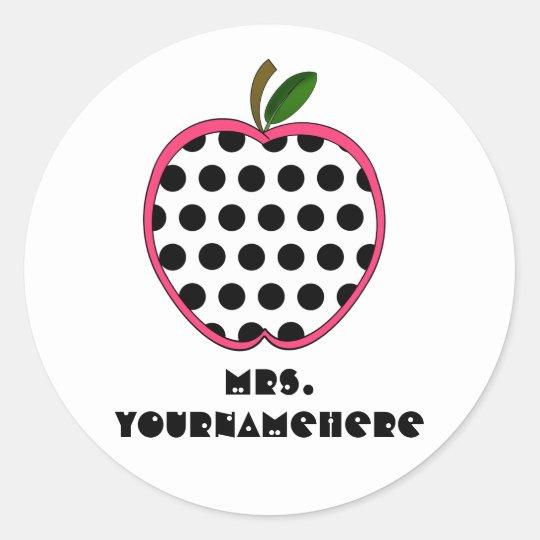 Polka Dot Apple Teacher Classic Round Sticker