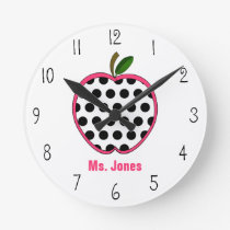 Polka Dot Apple Teacher Clock