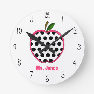 Polka Dot Apple Teacher Clock
