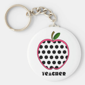 Polka Dot Apple Teacher Keychain