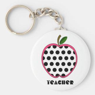 Polka Dot Apple Teacher Keychains