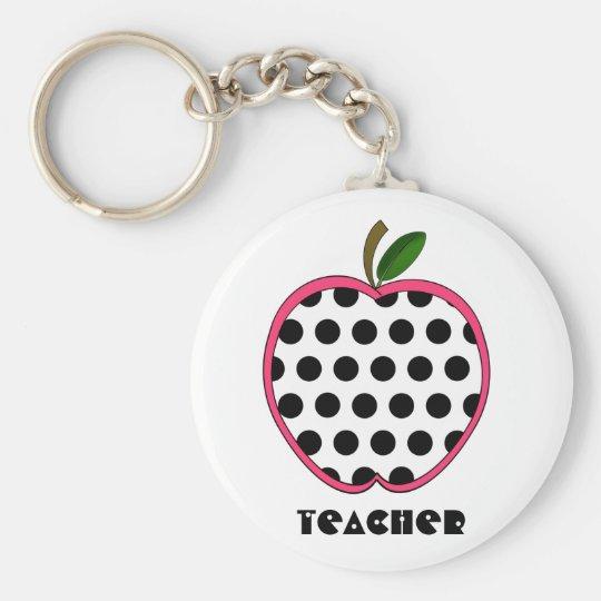 Polka Dot Apple Teacher Keychain