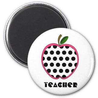 Polka Dot Apple Teacher Magnet