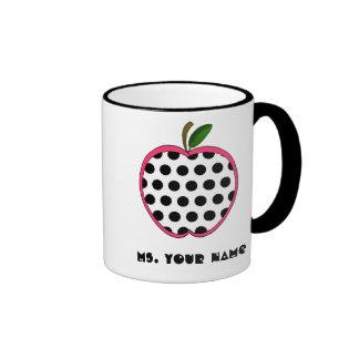 Polka Dot Apple Teacher Ringer Coffee Mug