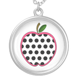 Polka Dot Apple Teacher Round Pendant Necklace
