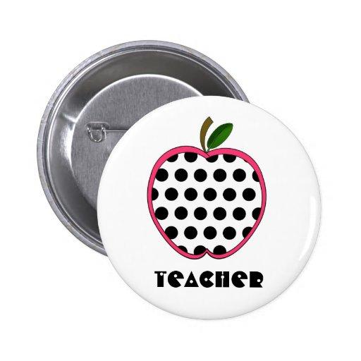 Polka Dot Apple Teacher Pinback Button